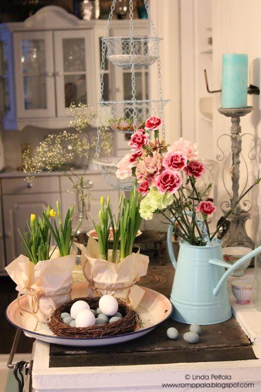 Spring flowers, kitchen stove Romppala - Lindan pihalla