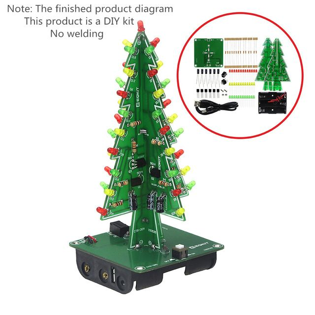 Three Dimensional 3d Christmas Tree Led Diy Kit Red Green Yellow Led Flash Circuit Kit Electronic Fun Suite Review Led Diy 3d Christmas Tree Led Kit