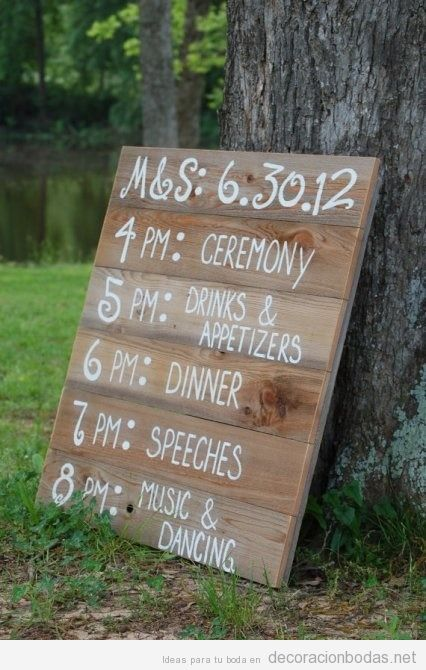 Idea original para boda, tablero con horario