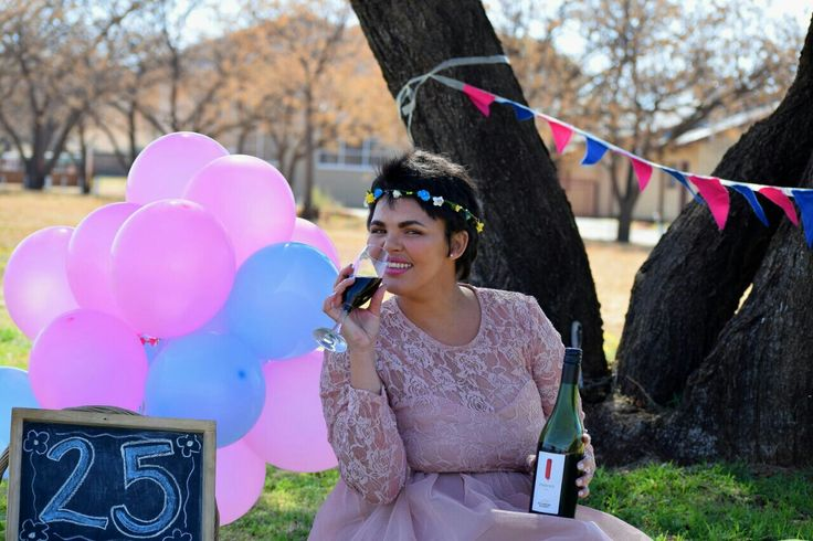 25th Birthday Photoshoot  Blue and Pink Balloons Tulle and lace dress Flower  crown Photo by PhotoJeni'Q