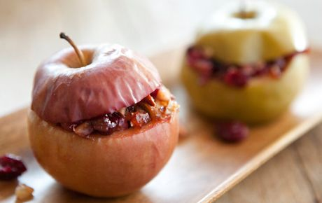 Serve these tender apples with a sweet-tart filling alongside roasted turkey or pork, a delicious pairing with the apples' hint of cardamom--though you could substitute cinnamon. They make a great stuffing alternative for those who don't eat wheat or gluten. They're also tasty for breakfast, snack or dessert--perhaps with whipped cream.