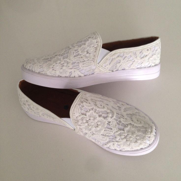 Zapatos shoes slip-on encaje blanco moda Fashion