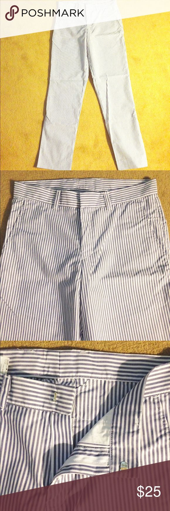 American Apparel Men's Pinstriped Pants Size 31 Blue and White vertical stripes, Men pants, American Apparel, Size 31, two front and two back pockets, belt loops American Apparel Pants Dress