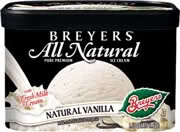Love this, nice ingredients (: no chemicals just food!   Breyers vanilla ice cream