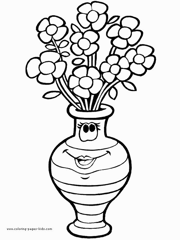 Flowers In A Vase Color Page Nature Food Coloring Pages For Kids Thousands Of Free Printable