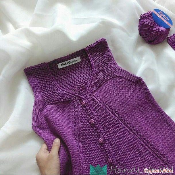 Purple vest for girls with knitting needles / Knitting