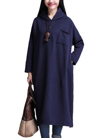 O-NEWE L-5XL Casual Women Solid Color Hooded Long Sleeve Thick Dress