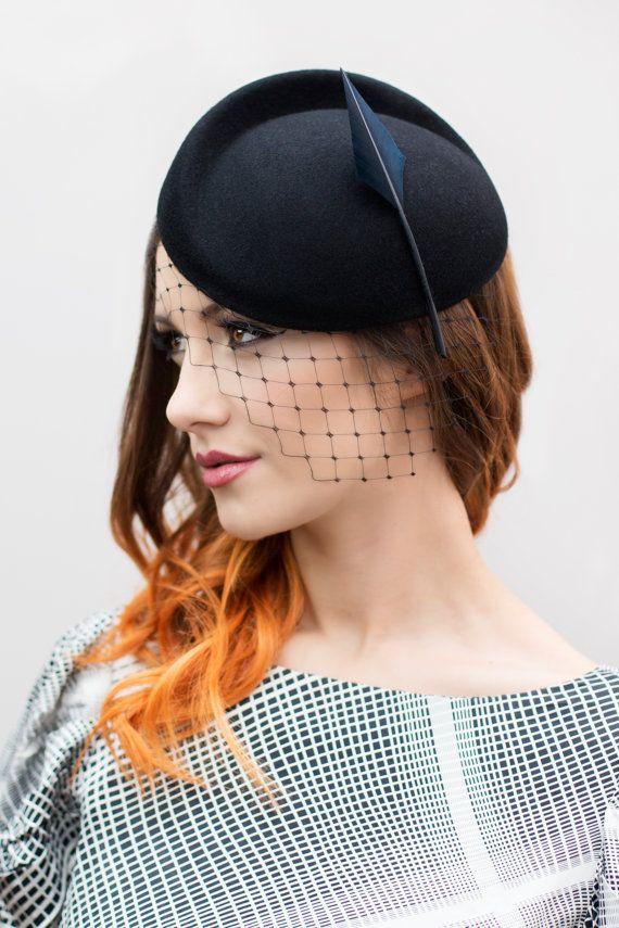 Birdcage Veil Headpiece Black Hat with Veil by MaggieMowbrayHats