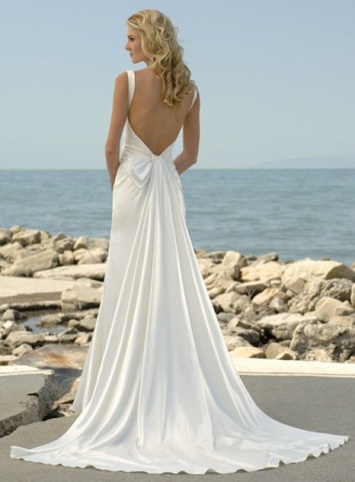 Simple Open-Back Silk Wedding Dress!