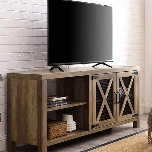 Metal Mesh Universal Stand With Cab Doors Tvs Up To 58 Flat Screen Tv Console Floating Tv Stand In 2020 Living Room Storage Cabinet Living Room Storage Rustic Tv Stand
