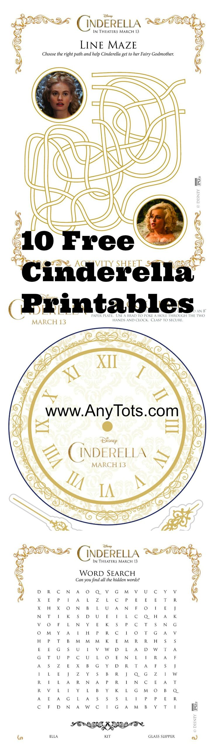 Free Cinderella Party Printables. 10 Cinderella Activty Sheets, Craft, Games to print for the kids. #Cinderella