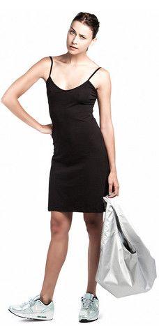 BLACK 90'S SLIP DRESS & SHOPPER BAG
