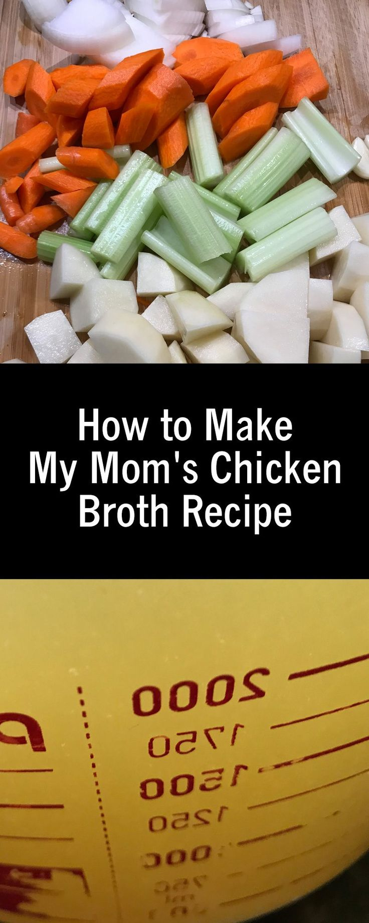 How to Make My Mom's Chicken Broth Recipe - easy recipe for those cold winter weeknight meals. It makes three meals in one. Check out how.