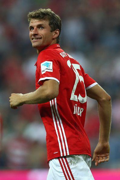 Thomas Mueller of Bayern Muenchen looks on during the Bundesliga match between Bayern Muenchen and Werder Bremen at Allianz Arena on August 26 2016...