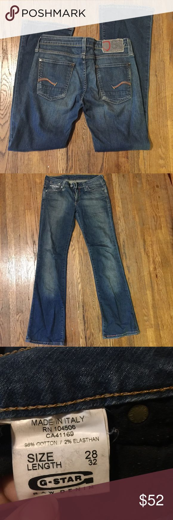 G-Star Raw Jeans Size 28 G-Star Raw boot cut jeans size 28 length 32. Lighter faded wash.  These are barely worn G-Star Jeans Boot Cut