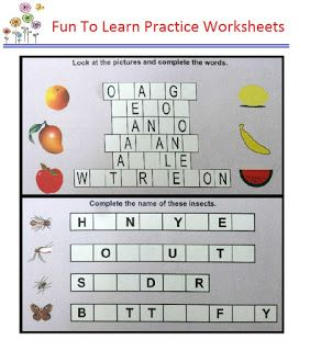 Word Puzzles - Complete Names of Insects and Fruits With Pictures