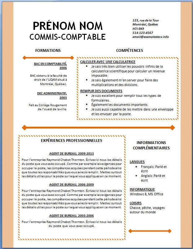Exemple De Cv 127 Jpg 623 802 Exemple Cv Calcul Comptabilite