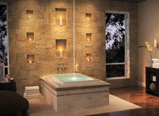 Buy El 20043 Bathroom Ceiling Light: Ceiling Tub Filler. Stone Wall With Candle Niches By El