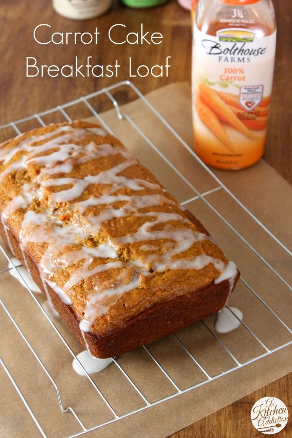 Carrot Cake Breakfast Loaf - A sneaky way to get your veggies in! @Jon-Mark Bolthouse Farms #ad