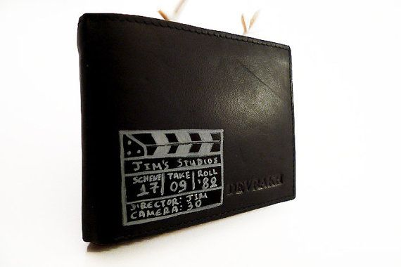 Fully personalized  black leather wallet - Cinema - hand painted - space for  coinscardscash id - hipster - Christmas gift for him by ArtyBeezzz