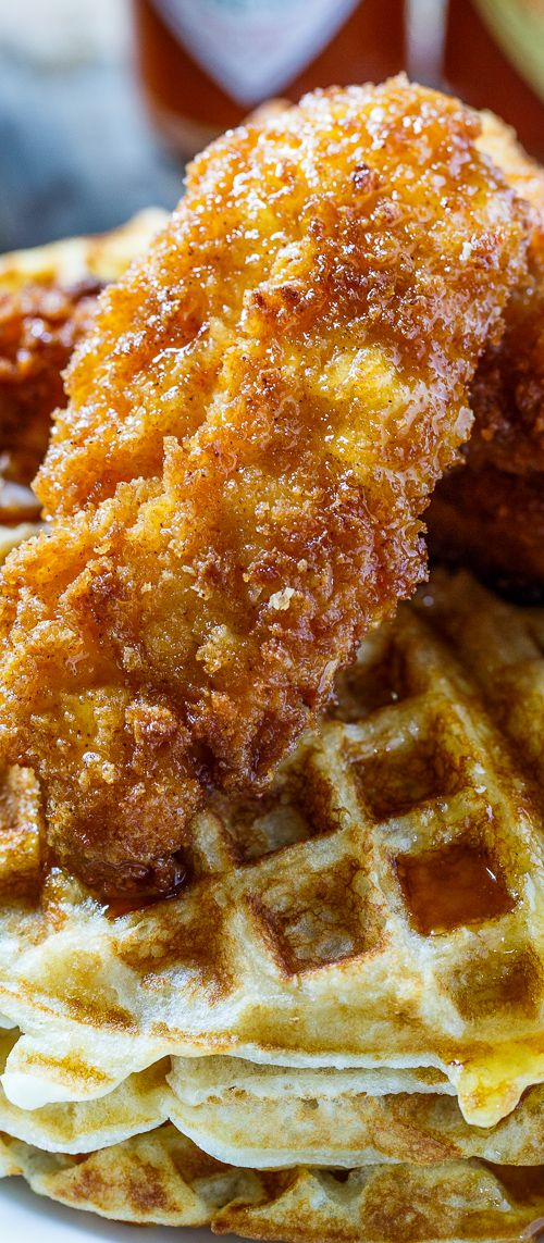 Chicken and Waffles with TABASCO Maple Syrup