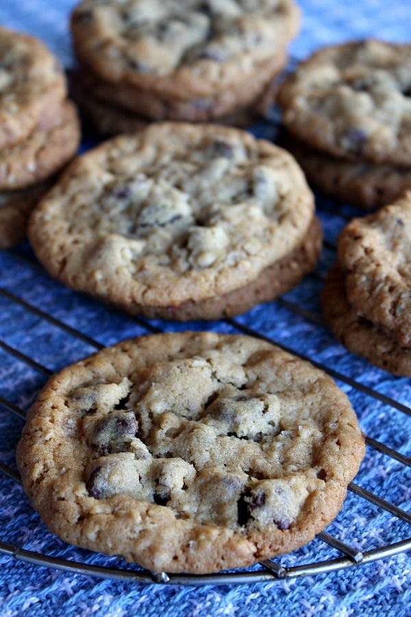 Peanut Butter Chocolate Chip Oatmeal Cookies with Sea Salt...