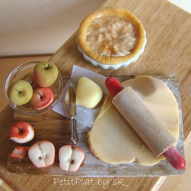 Préparation tarte aux pomme miniature