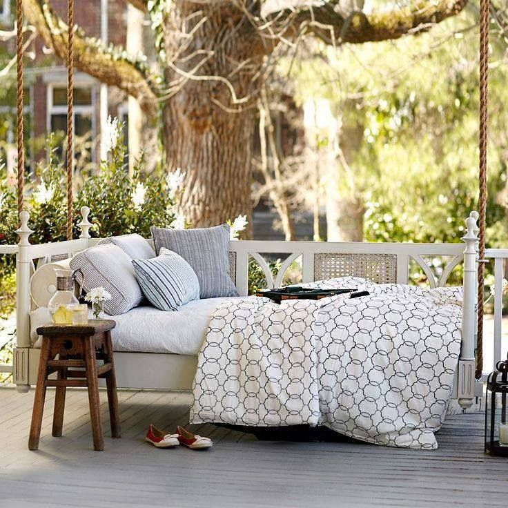 This hanging day bed looks so comfortable after a long for Outdoor hanging bed swing
