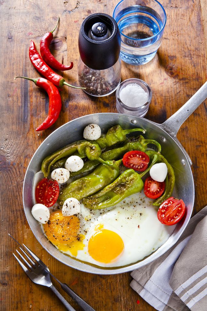 Breakfast in a frying pan. by IriGri on @creativemarket