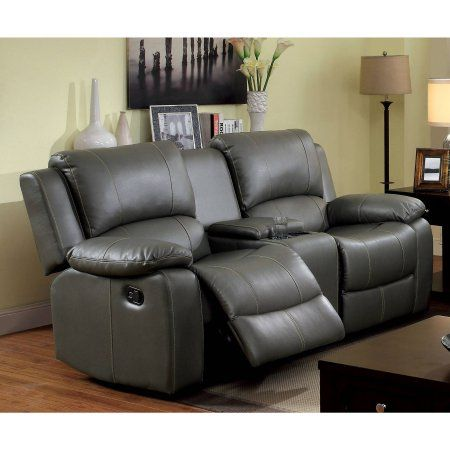 Furniture of America Brentwood Leatherette Loveseat Recliner, Gray