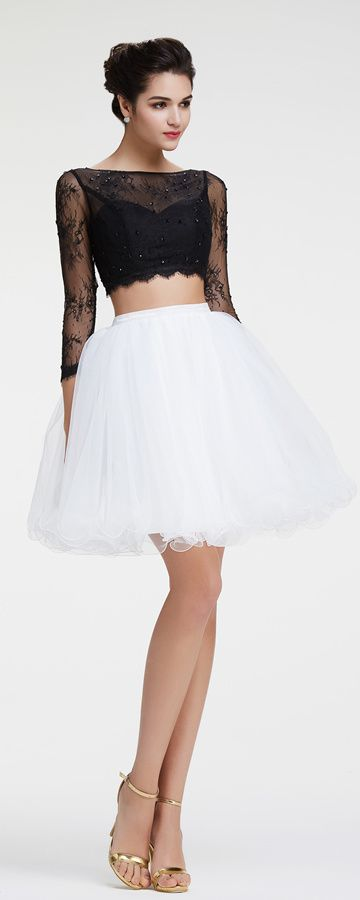 Black and white homecoming dresses two piece short prom dresses long sleeves