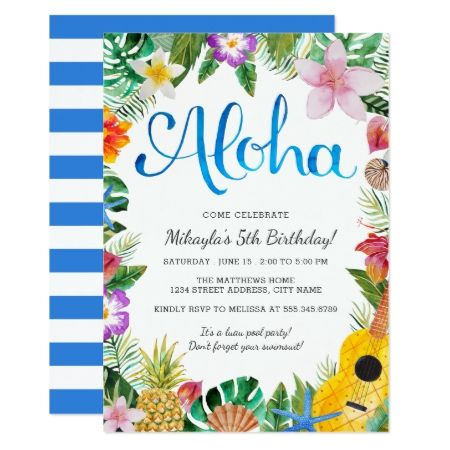 Watercolor Tropical Luau Birthday Party Invite - click to get yours right now!
