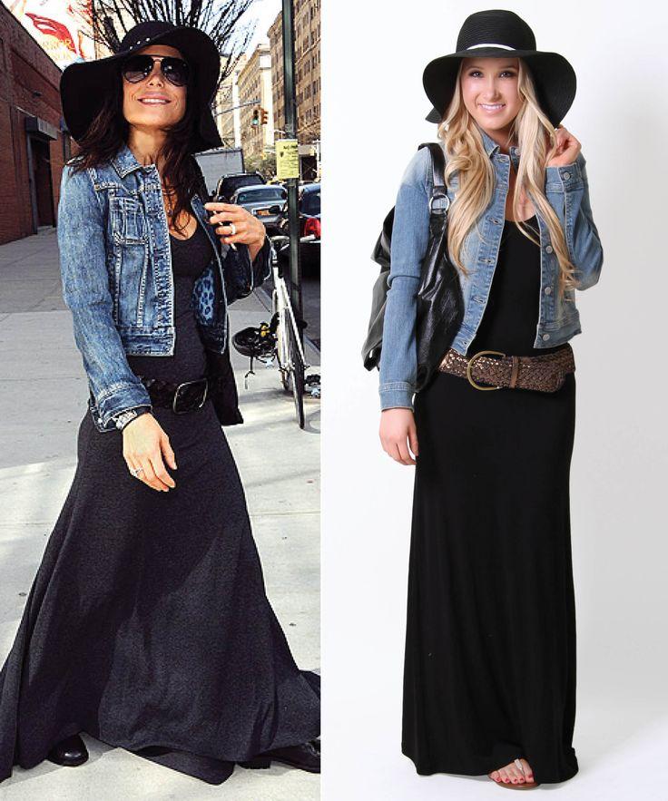Add a denim jacket & hat to your maxi dress