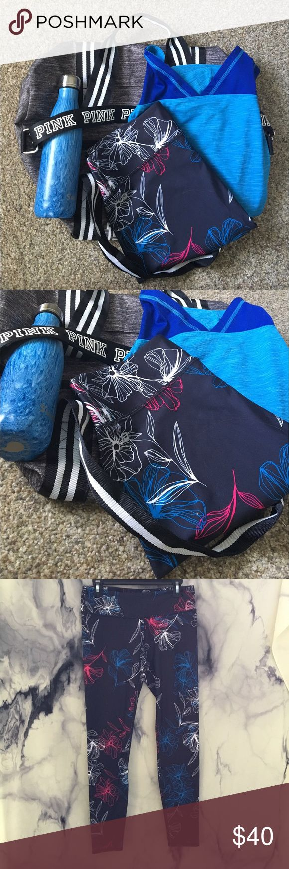 Fabletics NWT high waisted cropped leggings Working out today? These Fabletics red white and blue hardcore cardio workout cropped high waisted leggings would be perfect! Even better matched with an Eddie Bauer basic blue tank top, and drink up with your favorite drink in this 16oz blue wood Swell. Pack all your items together in this Victoria Secret duffle gym bag! ☀️☀️☀️ size medium/ large Fabletics Pants Leggings
