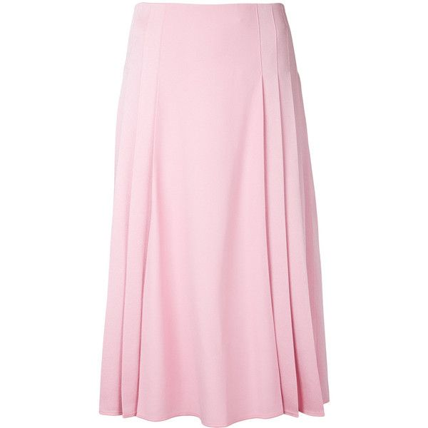 Victoria Beckham pleated detail midi skirt (8,730 CNY) ❤ liked on Polyvore featuring skirts, pleated midi skirt, pink pleated skirt, knee length pleated skirt, calf length skirts and pink skirt