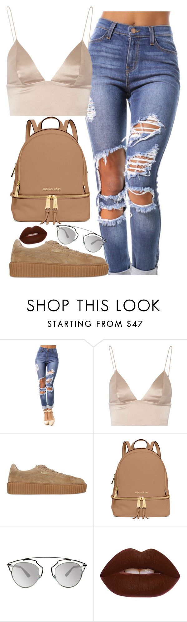 """Pia Mia Perez"" by alicehite ❤ liked on Polyvore featuring T By Alexander Wang, Puma, MICHAEL Michael Kors, Christian Dior, Lime Crime and piamiaperez"