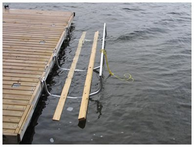 Kayak cradle/launch pad that attaches to dock