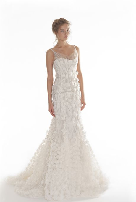 "Brides.com: Langner Couture - 2013. ""Fulmine"" embroidered tulle mermaid wedding dress with a sweetheart neckline, spaghetti straps, and silver thread details, Langner Couture  See more Langner Couture wedding dresses in our gallery."