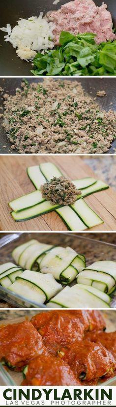 Raviolis de abobrinha | recheio de espinafre, peru, cebola e alho