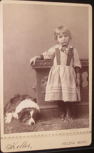 Little girl with border collie dog Antique cabinet photo from victorian age by Kingkongphoto & www.celebrity-photos.com, via Flickr