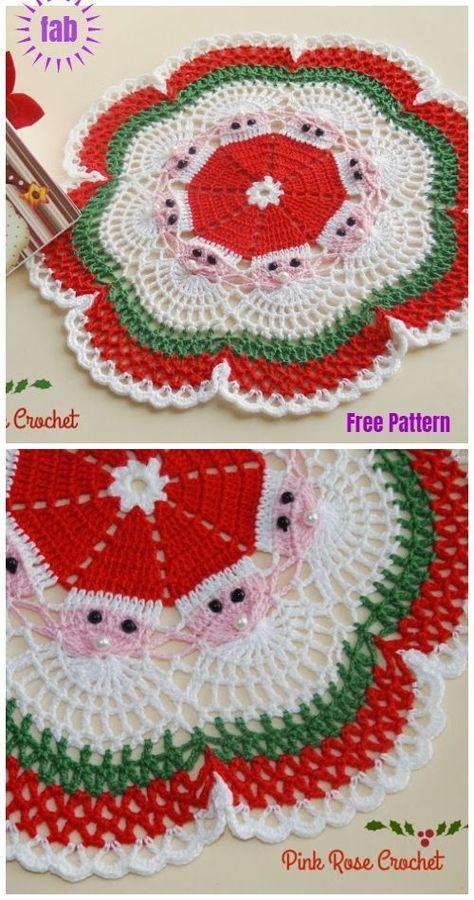 Christmas Crochet Santa Doily Free Crochet Patterns Sewing Ideas