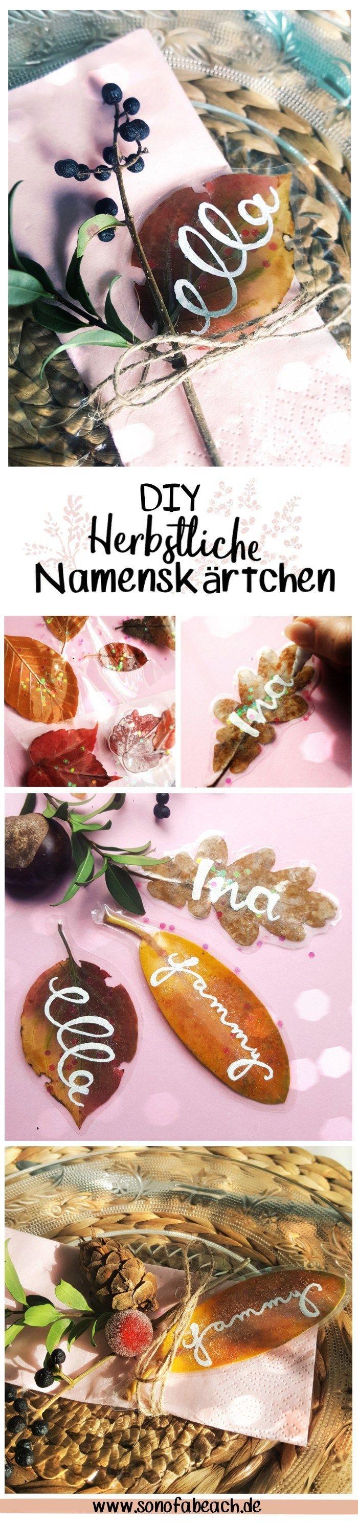 DIY Namenskärtchen aus laminierten Herbstblättern basteln