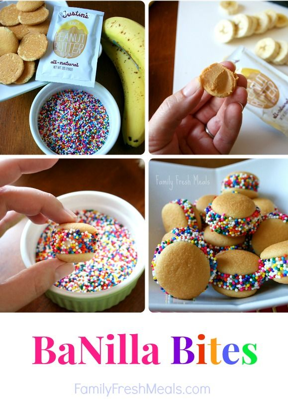 Spread PB on 2 Nilla wafers, add a banana slice to make a sandwich then roll onto plate of sprinkles. Looks fun!