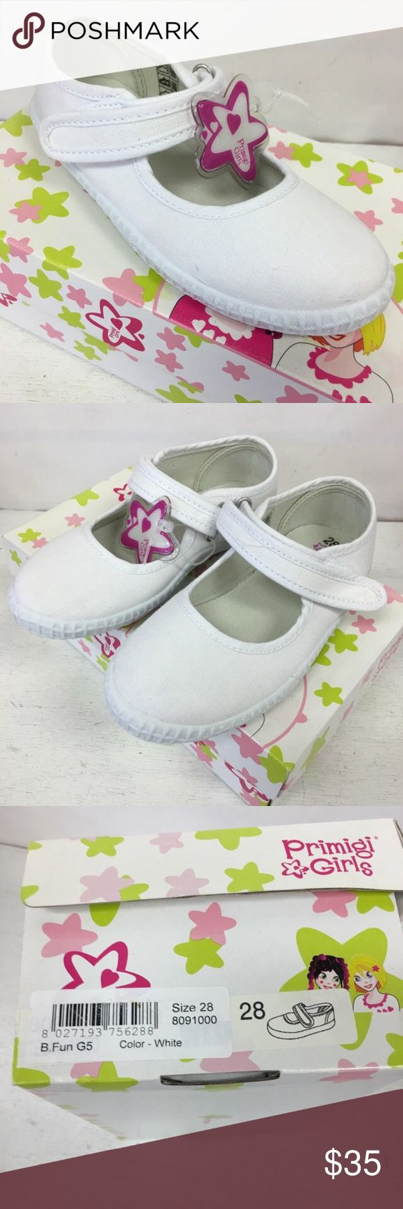 Primigi B.Fun White Mary Jane Canvas Sneakers Shoe Primigi B.Fun White Mary Jane Canvas Sneakers Shoes NEW NIB 28 11  Beautiful canvas sneakers/Mary Janes from Primigi.  Size is Euro 28 or approx 11 US.  New in box.  #white #maryjanes #maryjane #whiteshoes #ilovemywhiteshoes #canvas #sneakers #kicks #coolkicks Primigi Shoes Sneakers