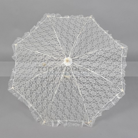 Light Yellow Wedding Umbrella with Lace Ruffle
