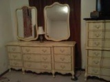 Queen Ann 4 piece bedroom set - vanity with dual attached adjustable mirrors.