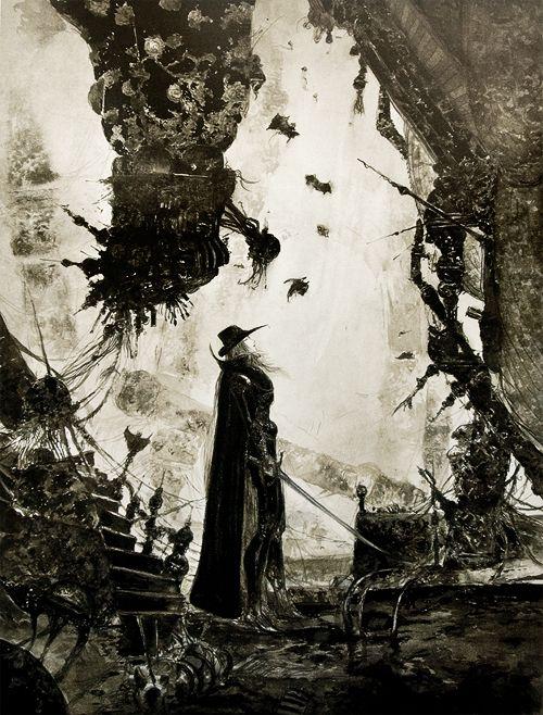 The Art of Yoshitaka Amano - Concept art for Vampire Hunter D