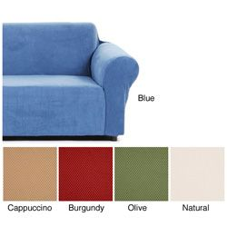 Slipcovers for couches - maybe we could find them in grey?  Lots of sources for these.