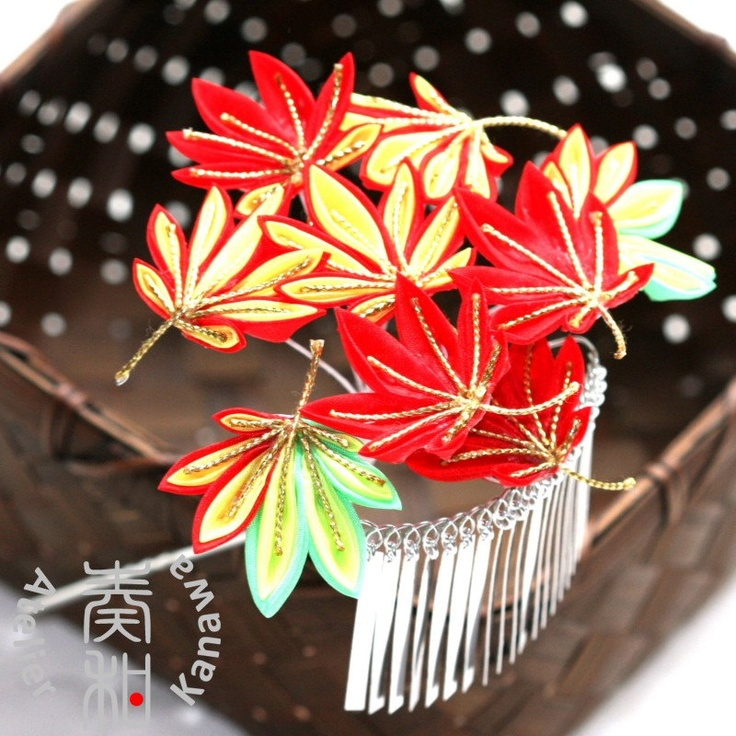 Tsumami Kanzashi for Maiko in Autumn season-Momiji (Japanese Maple). $399.00, via Etsy.