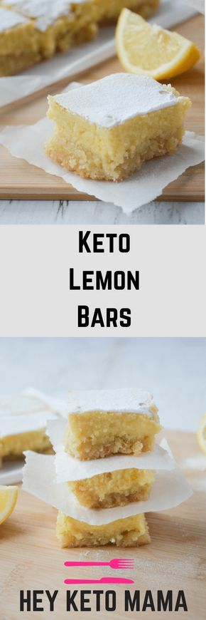 This recipe for keto lemon bars is an absolute low carb dream! With only 4g of net carbs per serving, you'll be happy to indulge in this bright and tangy treat without a shred of guilt! | heyketomama.com via @heyketomama